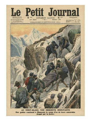 A Moving Descent Down the Mont Blanc Giclee Print