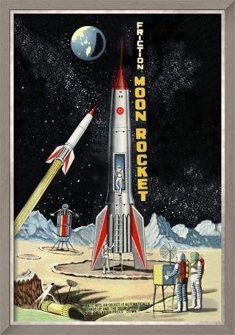 Friction Moon Rocket Framed Art Print