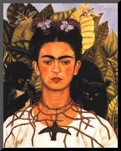 portrait with necklace kunst op hout van frida kahlo bij. Black Bedroom Furniture Sets. Home Design Ideas