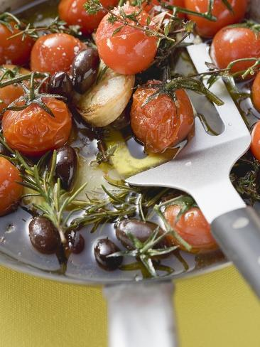 Fried Cherry Tomatoes with Garlic and Olives in Frying Pan Photographic Print