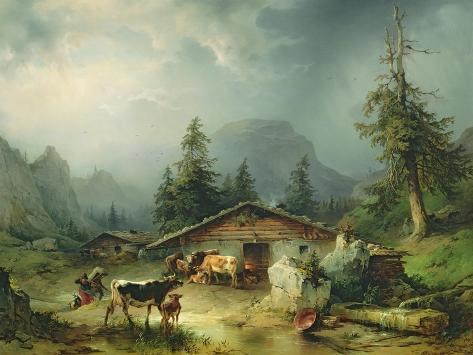 Alpine hut in Rainy Weather, 1850 Lámina giclée