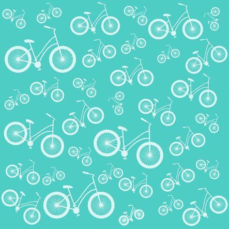 Bicycle White Silhouette Blue Seamless Pattern Art Print