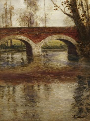 A River Landscape with a Bridge Giclee Print