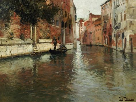 Bakvatten i Venedig Gicléetryck