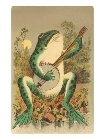Frog Playing Banjo in Moonlight Art Print