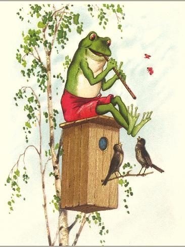 Frog Playing Flute Art Print