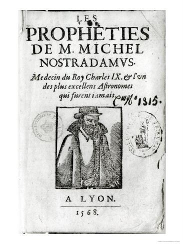 Frontispiece to Les Propheties de M. Michel de Nostradamus Impressão giclée