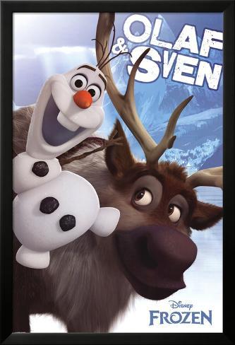Frozen Olaf and Sven Lamina Framed Poster