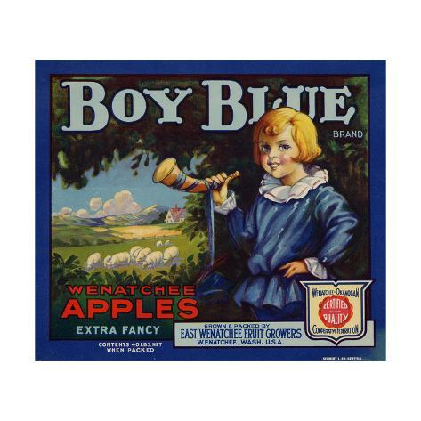 Fruit Crate Labels: Boy Blue Brand Wenatchee Apples; East Wenatchee Fruit Growers Taidevedos