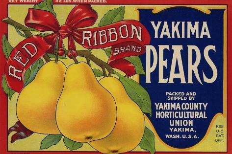 Fruit Crate Labels: Red Ribbon Brand Yakima Pears; Yakima County Horticultural Union Taidevedos