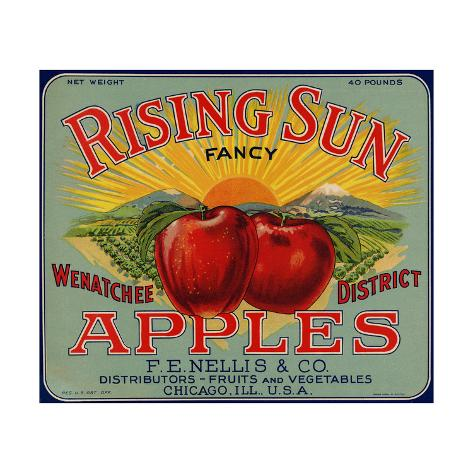 Fruit Crate Labels: Rising Sun Fancy Apples; F.E. Nellis and Company Taidevedos