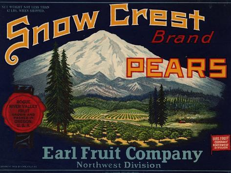 Fruit Crate Labels: Snow Crest Brand Pears; Earl Fruit Company Taidevedos