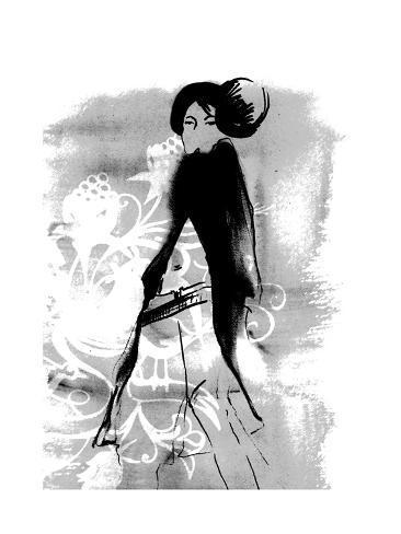 Geisha in Charcoal Giclee Print