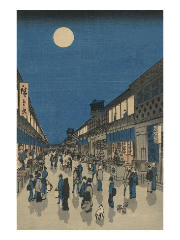 Full Moon over a Crowded Street Art Print
