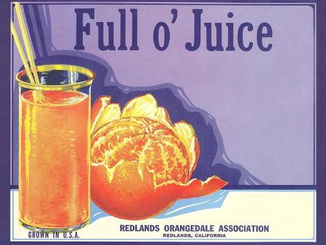 Full o' Juice Orange Crate Label Taidevedos