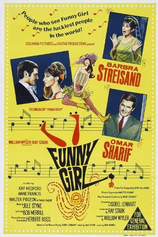 Funny Girl, Australian poster, Barbra Streisand, Omar Sharif, 1968 Art Print