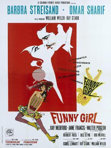 Funny Girl, Italian poster, Barbra Streisand, Omar Sharif, 1968 Art Print
