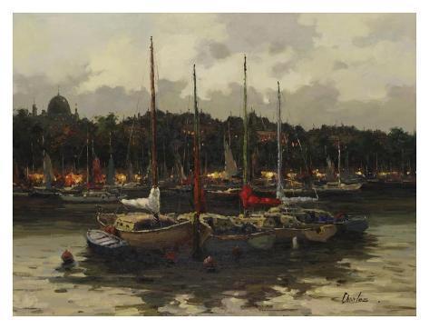 Boats at Night Art Print