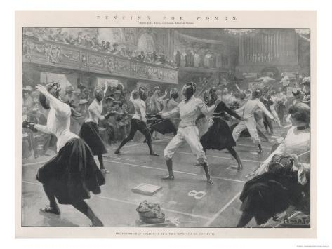 An Exhibition of Ladies, Fencing at Oxford Town Hall Giclee Print