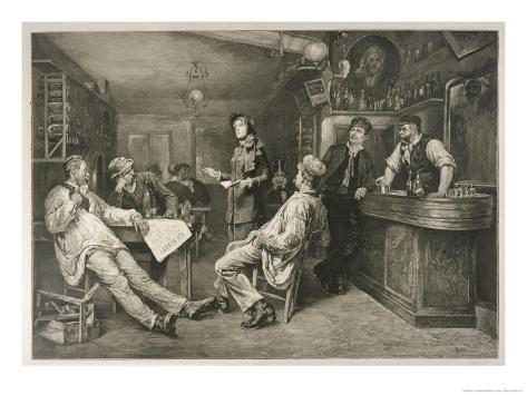 Brave English Salvationist Preaches to the Clientele of a Swiss Tavern Giclee Print