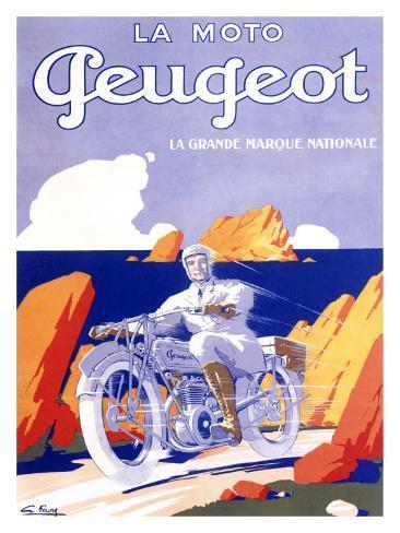 Peugeot Motorcycle Giclee Print