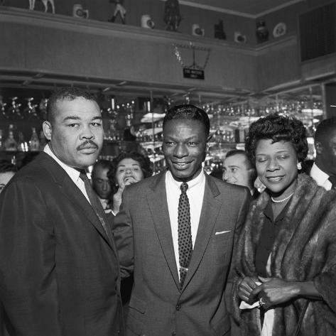 Nat King Cole Is Flanked by Boxing Great Joe Louis and His Wife Rose Morgan Photographic Print