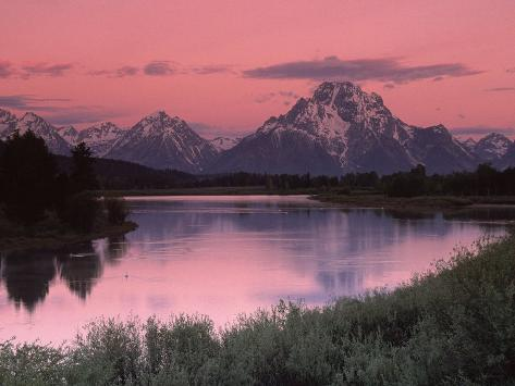 Dawn, Oxbow Bend, Grand Tetons, WY Photographic Print