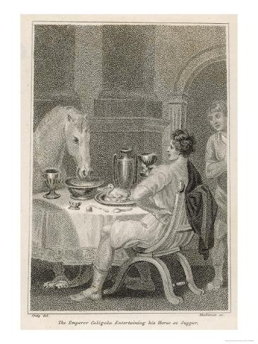 Gaius Caesar Caligula Fed His Horse Swift at His Table from Golden Tableware Giclee Print