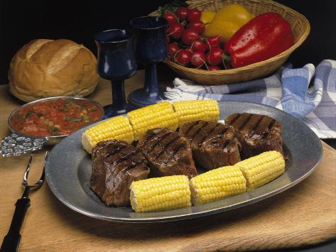 Steak and Corn on the Cob Photographic Print
