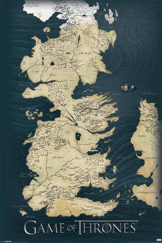 Game of Thrones carte des sept royaumes, le Trône de Fer Poster