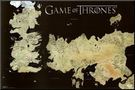 Game of Thrones Horizontal Map Mounted Print