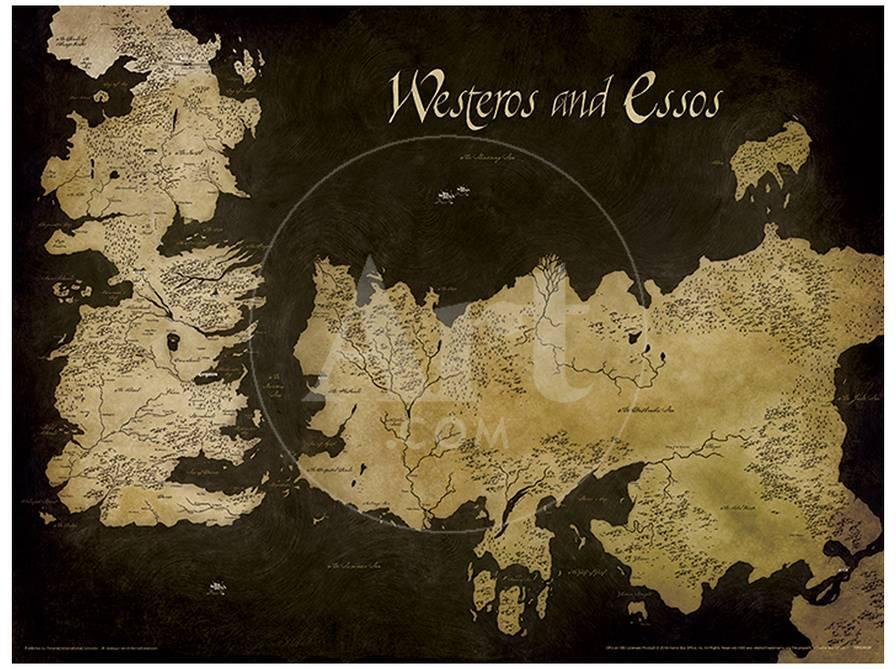 Game of Thrones - Westeros and Essos Antique Map Masterprint at ...