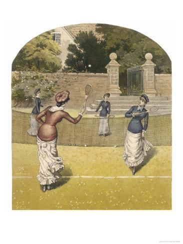 Game of Women's Doubles in a Country Garden Giclee Print