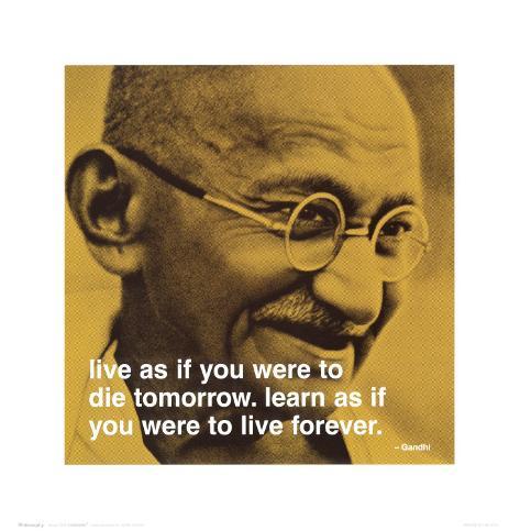 Gandhi: Man lär så länge man lever|Gandhi: Live and Learn Konstprint