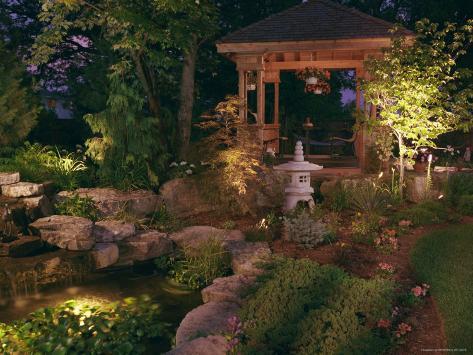 Garden Gazebo at Night Photographic Print