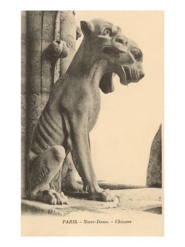 Gargoyle on Notre Dame, Paris Art Print