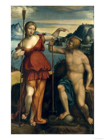 Poseidon and Athena Giclee Print