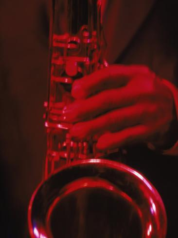 Close-up of Man Playing Saxophone in Jazz Club Photographic Print