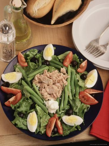 Nicoise Salad and Rolls Ready to Be Served Photographic Print