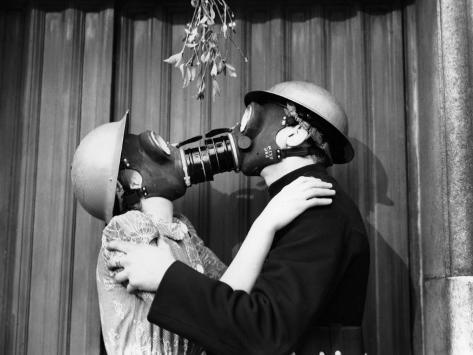 Gas Mask Kiss Photographic Print