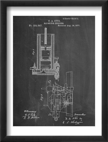 Gas Motor Engine Patent Framed Art Print