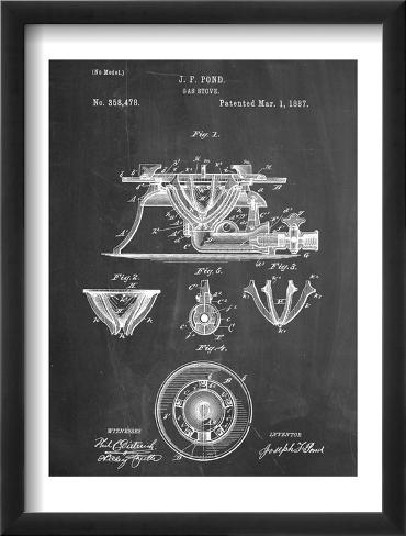 Gas Stove Kitchen Art Patent Framed Art Print