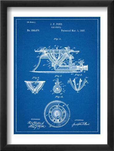 Gas Stove Kitchen Patent Framed Art Print