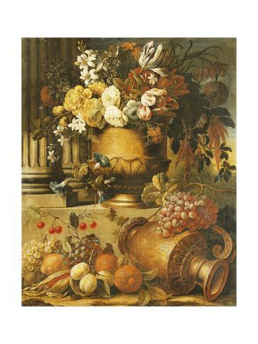 Flowers in Urns on Plinths with Fruit Stretched Canvas Print