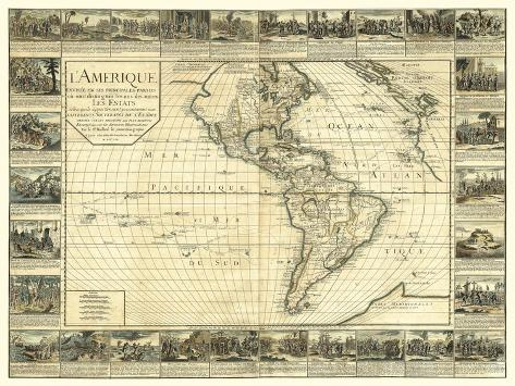 L'Amerique, Lyon, France 1752 Art Print