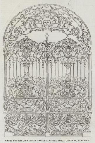 Gates for the New Shell Factory, at the Royal Arsenal, Woolwich Giclee Print