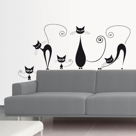 Gatos negros Vinilo decorativo