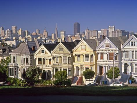 Alamo Square and City Skyline, San Francisco, California Usa Photographic Print