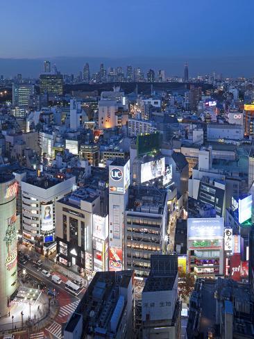 Asia, Japan, Tokyo, Shinjuku Skyline Viewed from Shibuya - Elevated Photographic Print