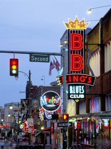 Beale Street at Night, Memphis, Tennessee, USA Photographic Print
